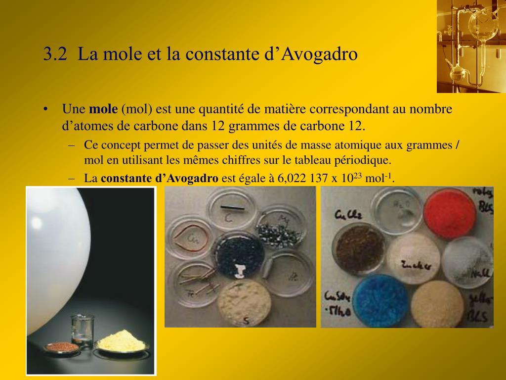 3.2  La mole et la constante d'Avogadro