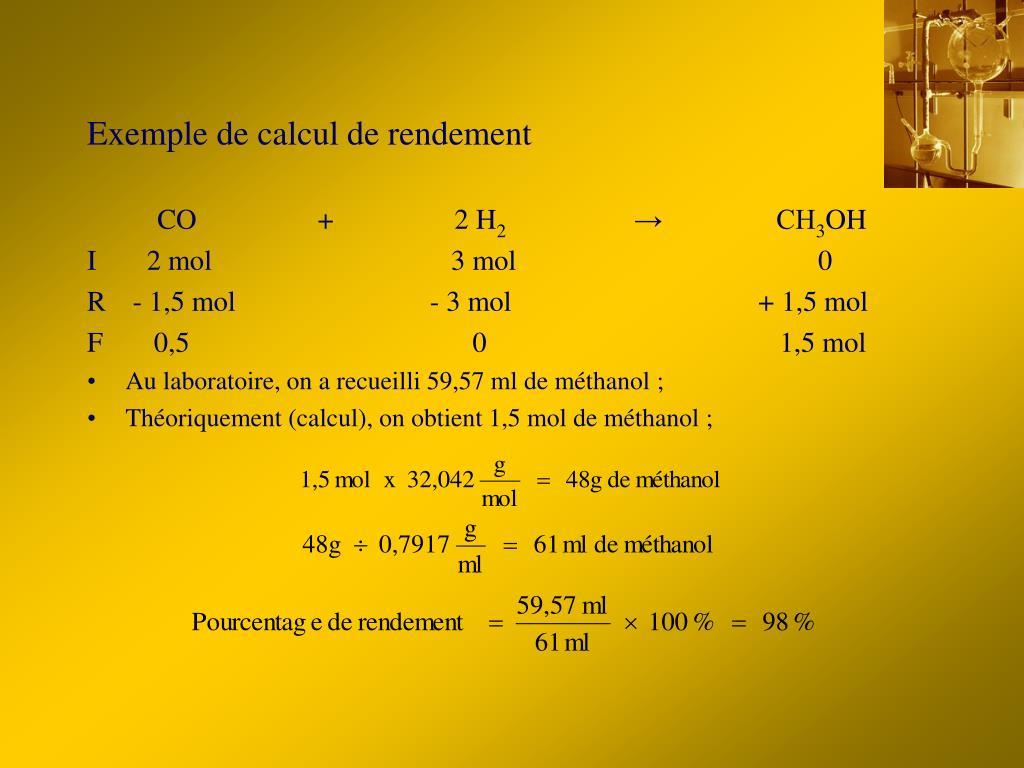 Exemple de calcul de rendement