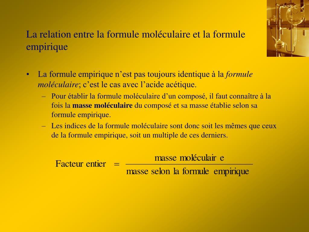 La relation entre la formule moléculaire et la formule empirique