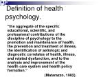 definition of health psychology