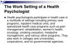 the work setting of a health psychologist