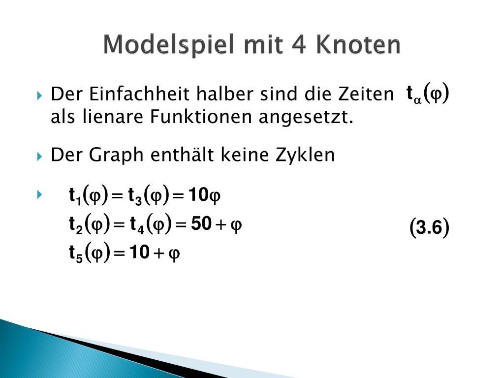 Modelspiel mit 4 Knoten