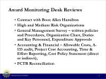 award monitoring desk reviews