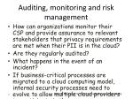 auditing monitoring and risk management