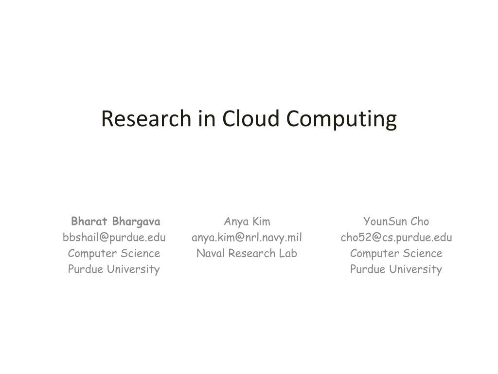 research in cloud computing l.