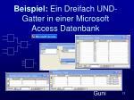 beispiel ein dreifach und gatter in einer microsoft access datenbank