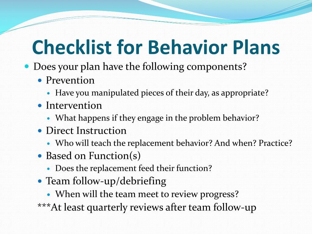 Checklist for Behavior Plans