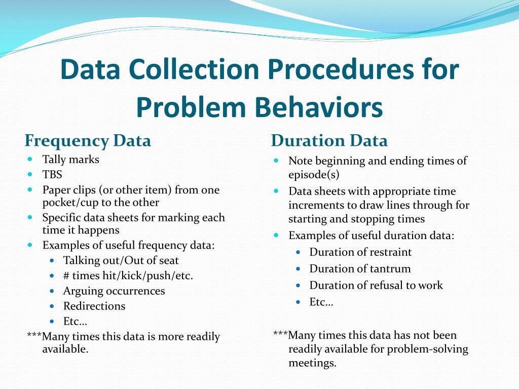 Data Collection Procedures for Problem Behaviors