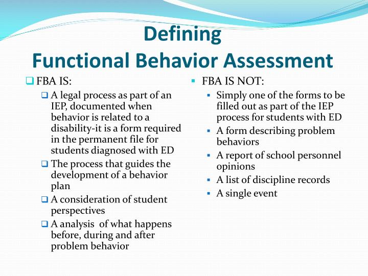 Defining functional behavior assessment