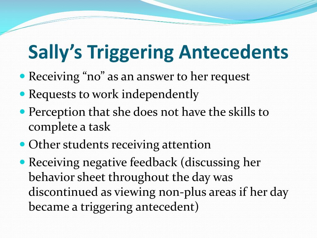 Sally's Triggering Antecedents