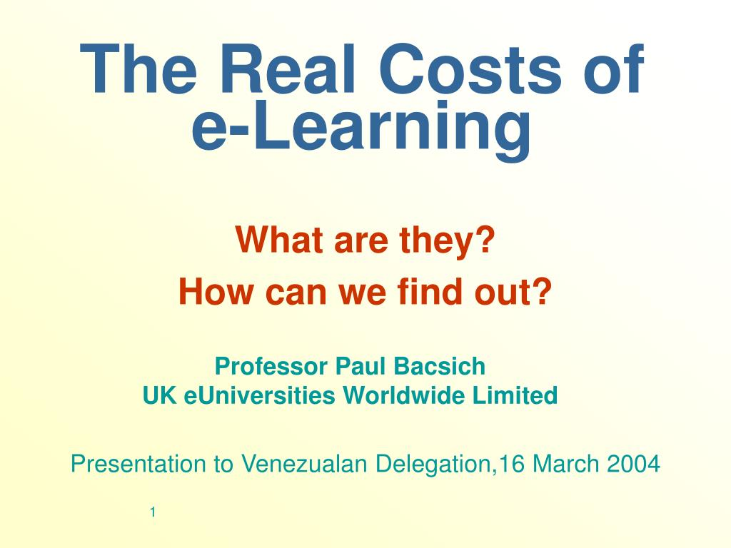 the real costs of e learning l.