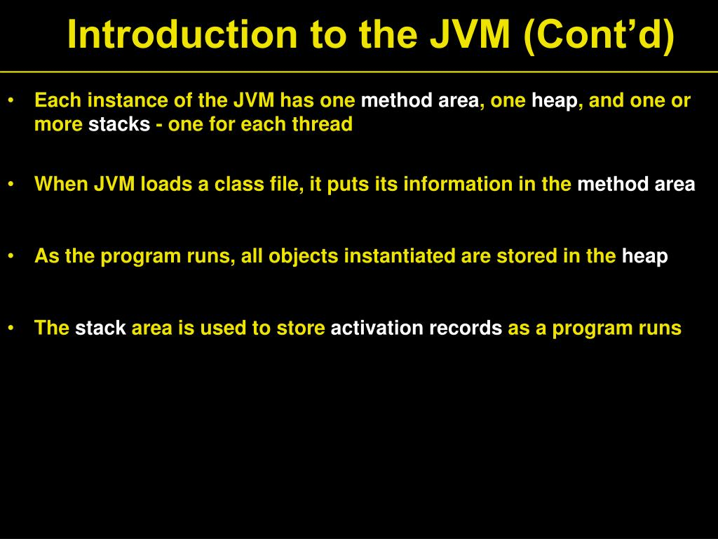 Introduction to the JVM (Cont'd)