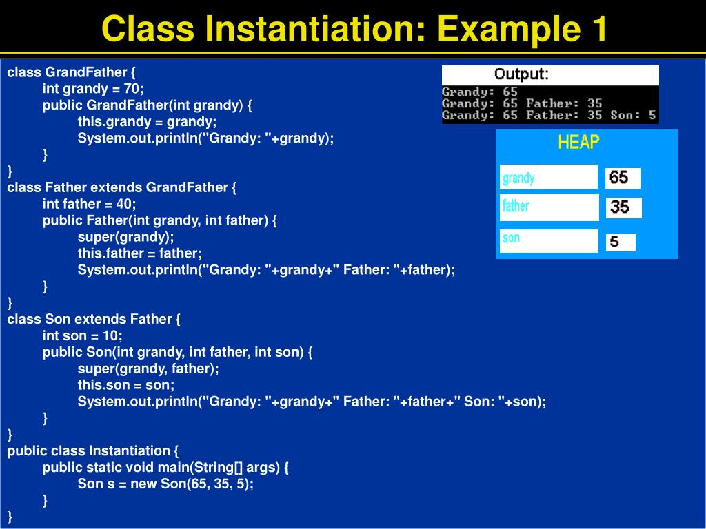Class Instantiation: Example 1