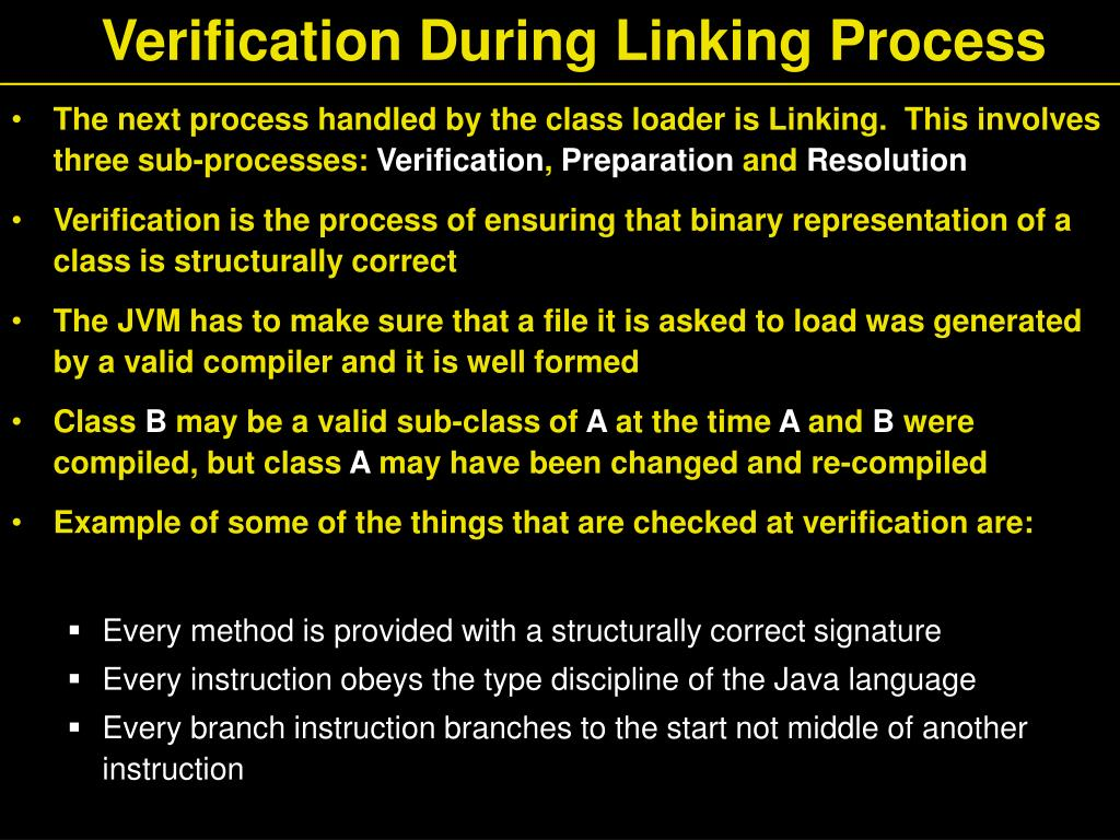 Verification During Linking Process