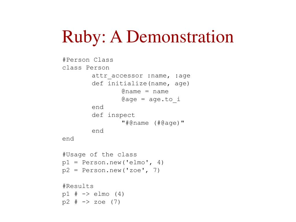 Ruby: A Demonstration