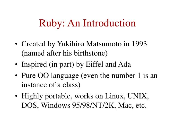 Ruby an introduction