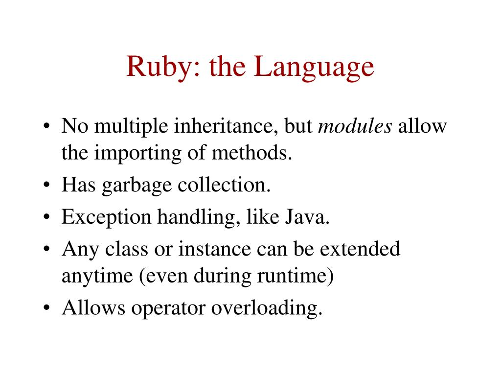 Ruby: the Language