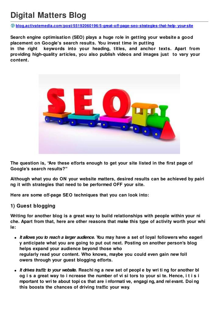 5 great off page seo strategies that help your site rank on
