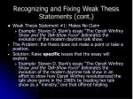 recognizing and fixing weak thesis statements cont9