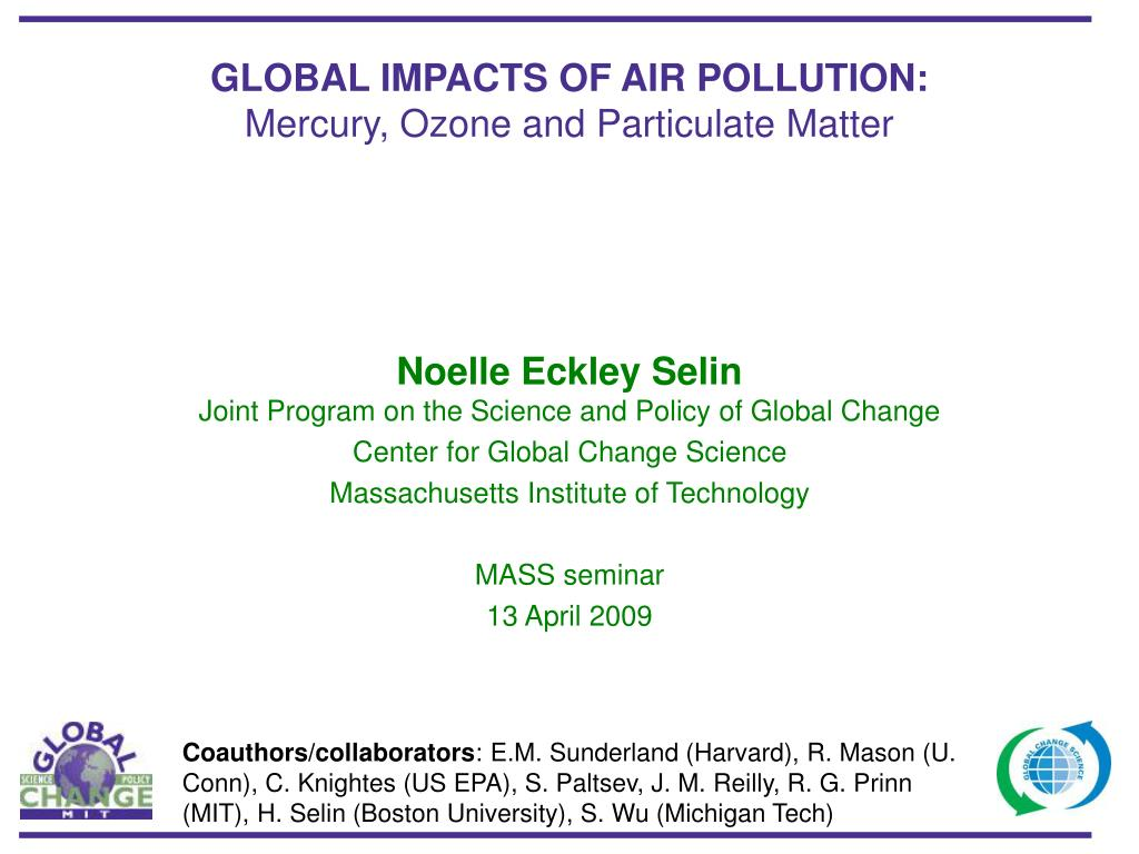 global impacts of air pollution mercury ozone and particulate matter l.
