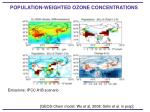population weighted ozone concentrations