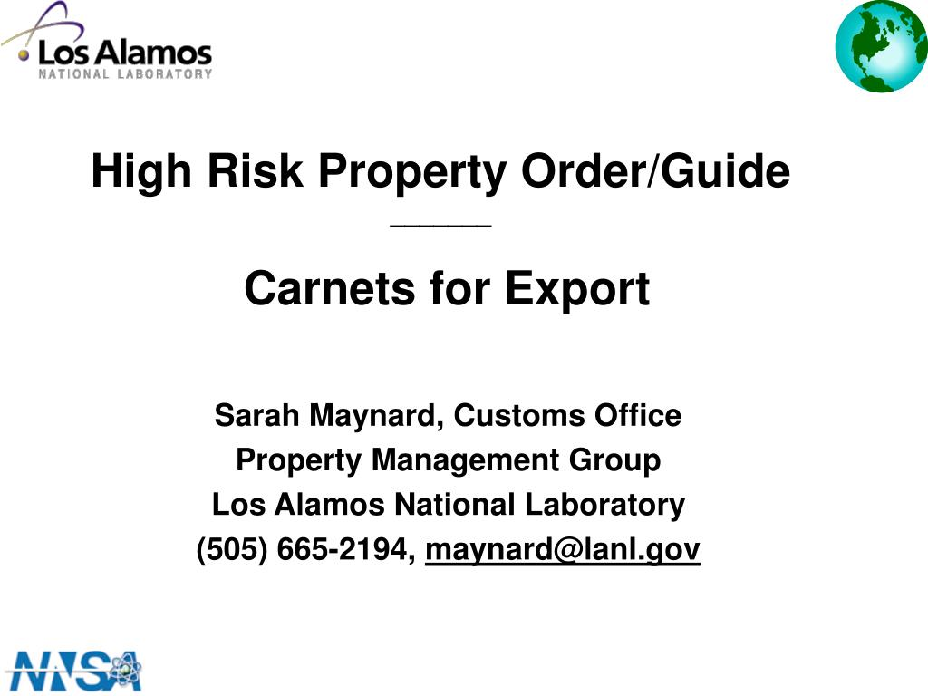high risk property order guide carnets for export l.