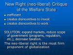 new right neo liberal critique of the welfare state
