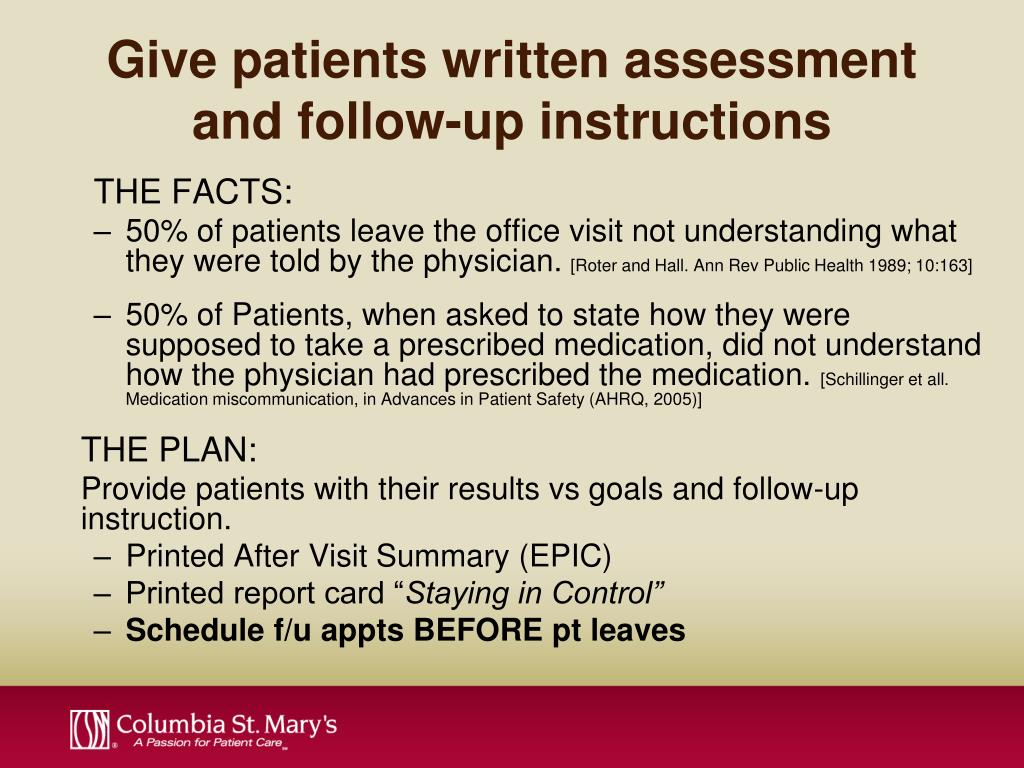 Give patients written assessment and follow-up instructions