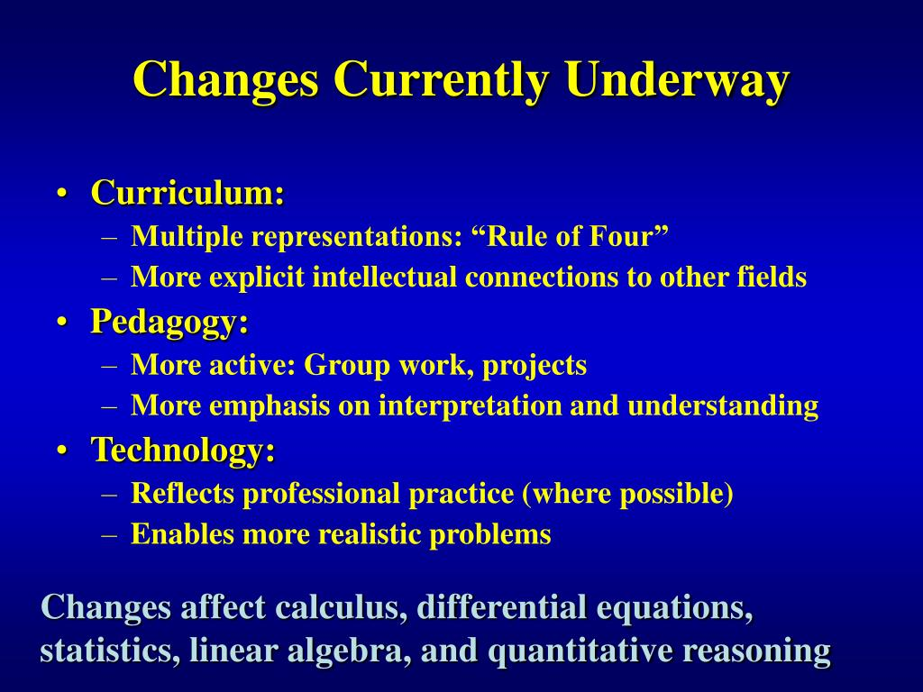 Changes Currently Underway
