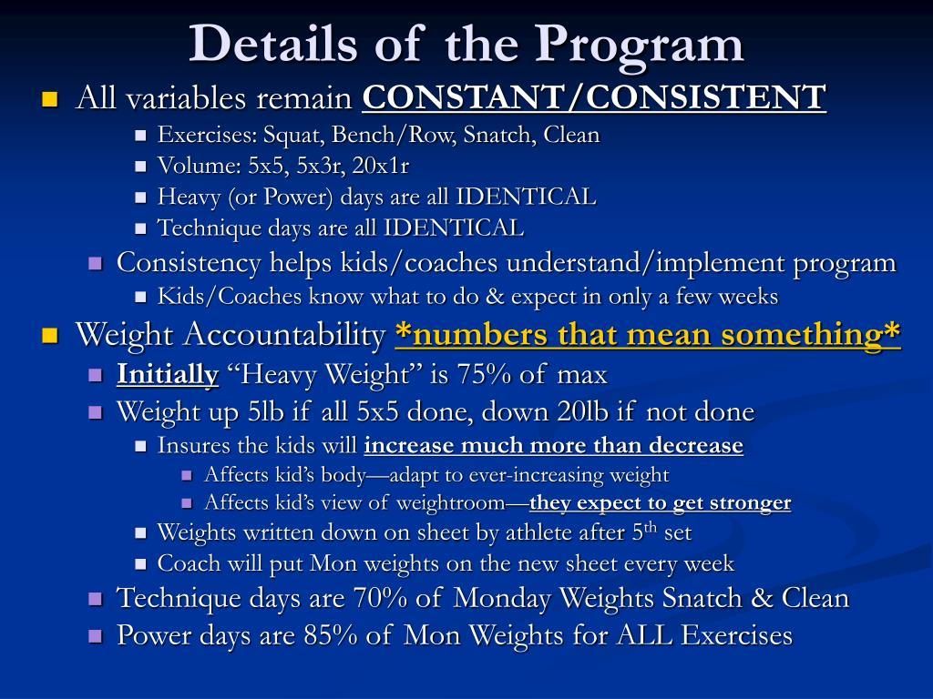 Details of the Program
