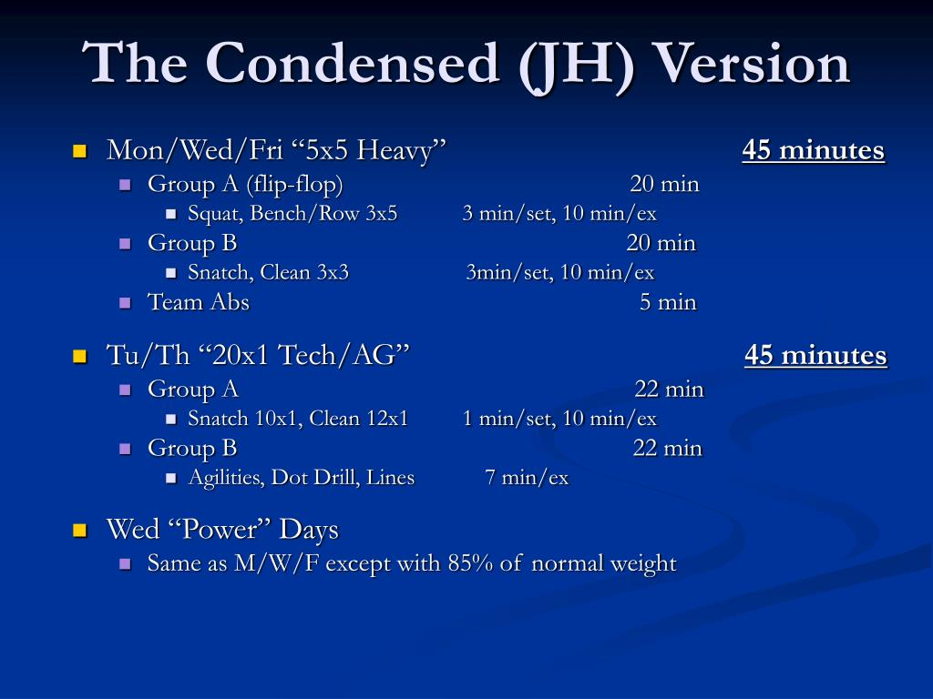 The Condensed (JH) Version
