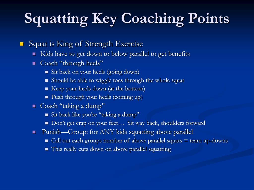 Squatting Key Coaching Points