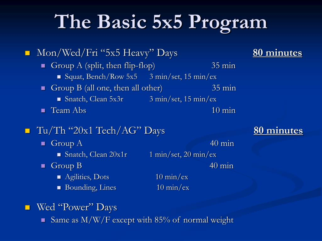 The Basic 5x5 Program