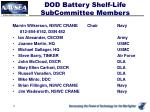 dod battery shelf life subcommittee members