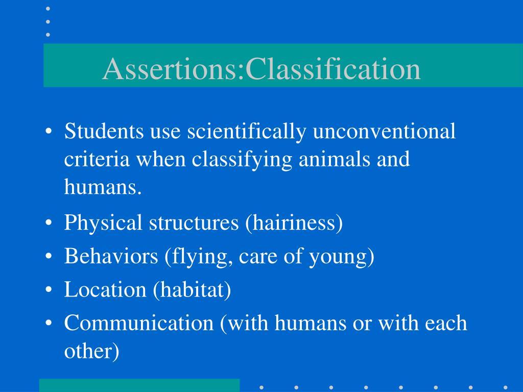 Assertions:Classification