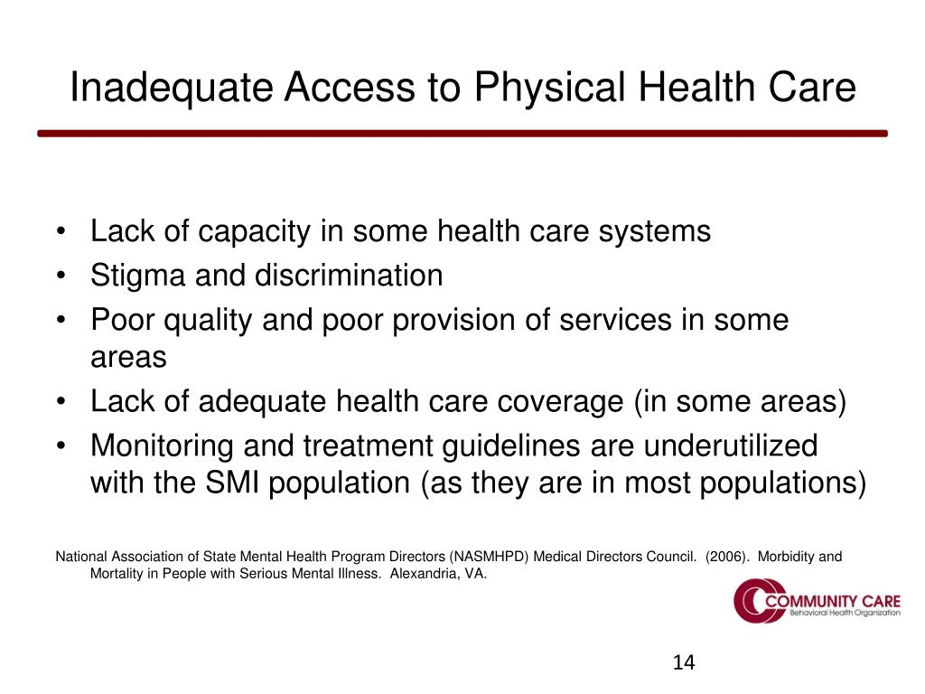Inadequate Access to Physical Health Care