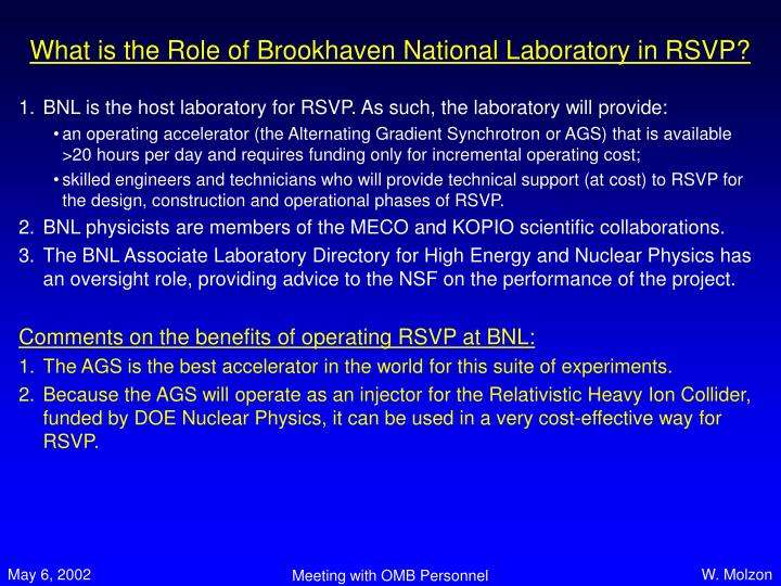 What is the Role of Brookhaven National Laboratory in RSVP?