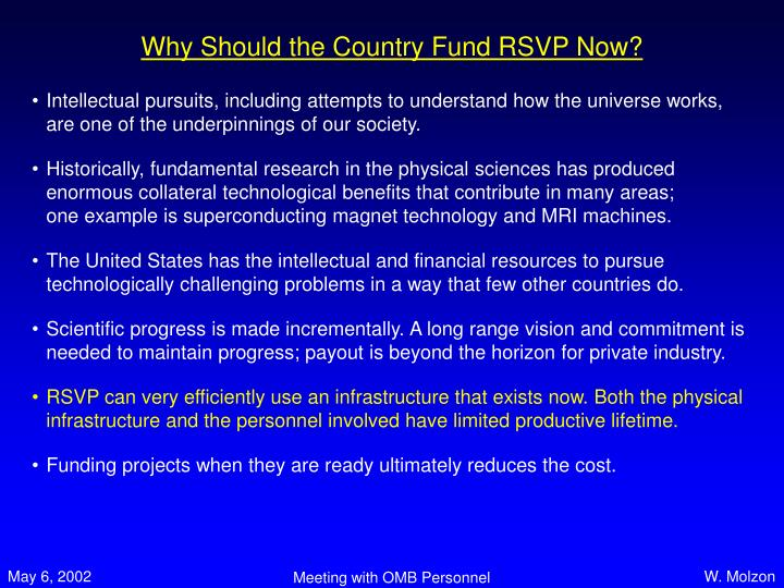 Why Should the Country Fund RSVP Now?