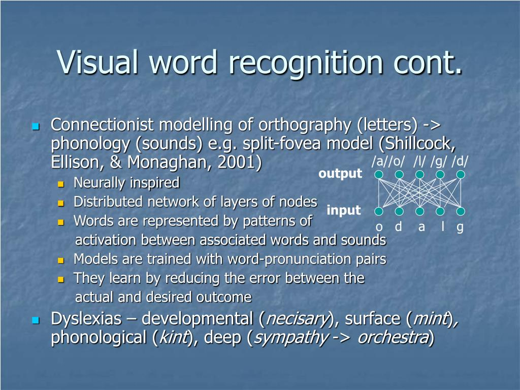 Visual word recognition cont.