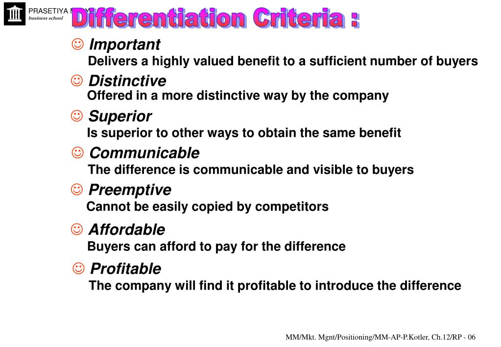 Differentiation Criteria :