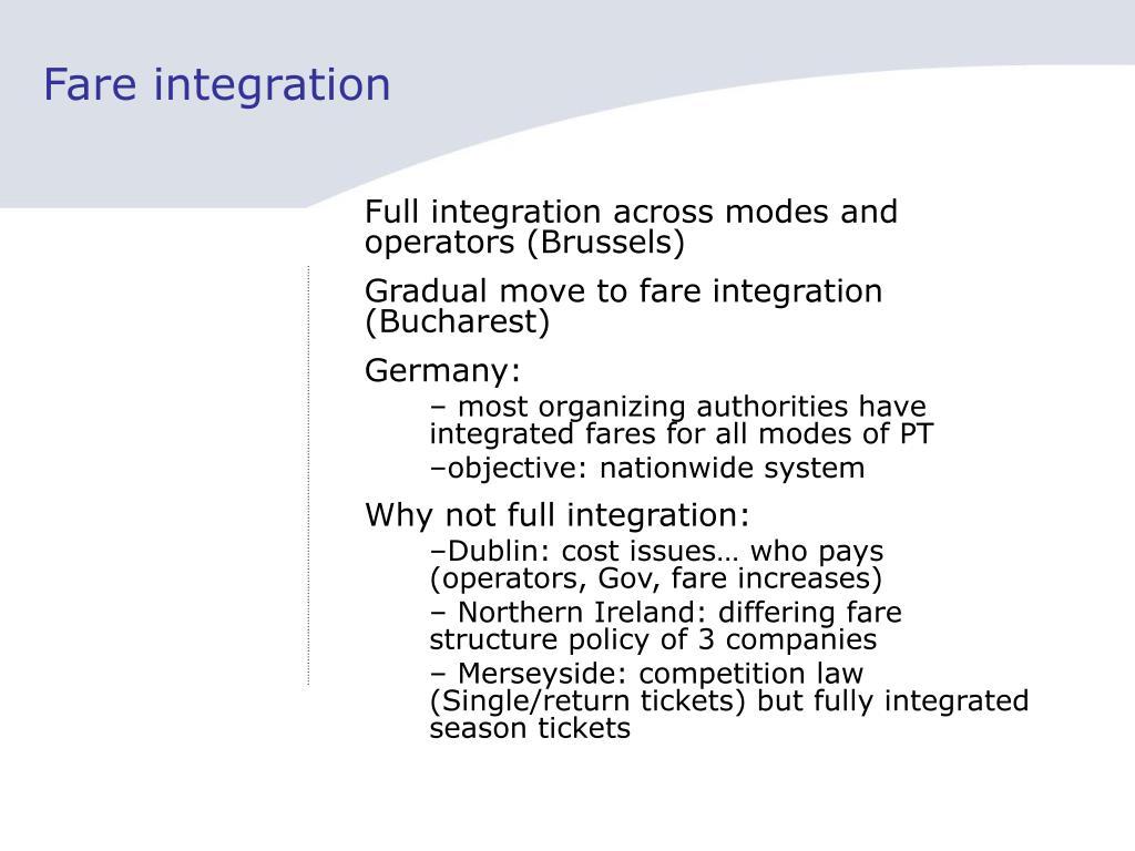 Fare integration