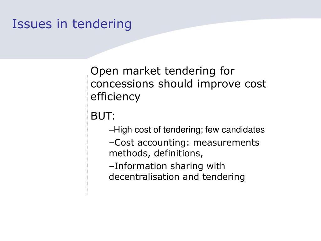 Issues in tendering