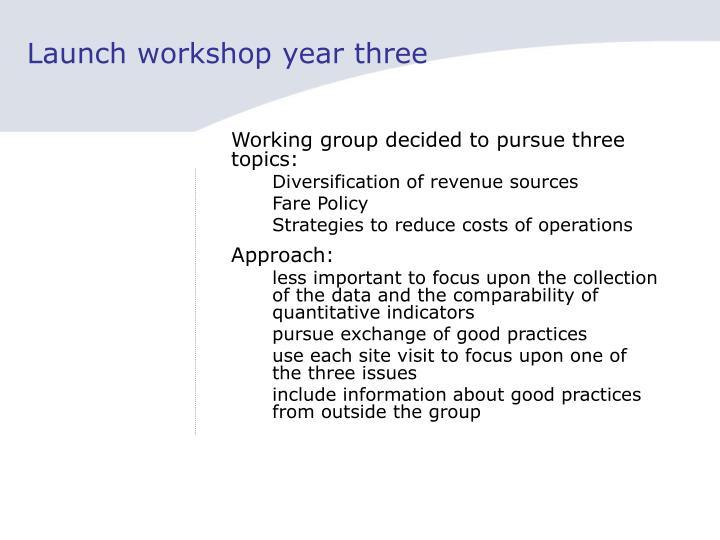Launch workshop year three