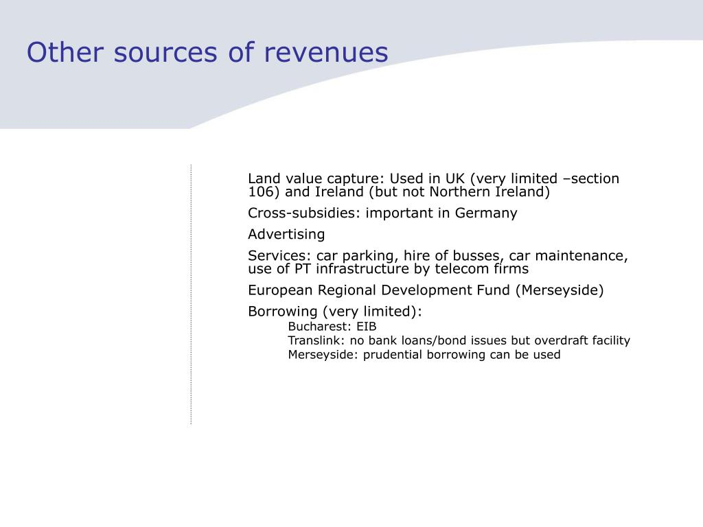 Other sources of revenues