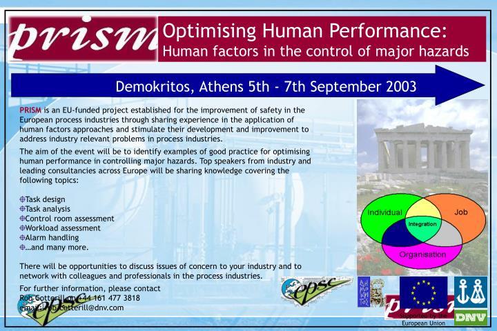 Optimising Human Performance: