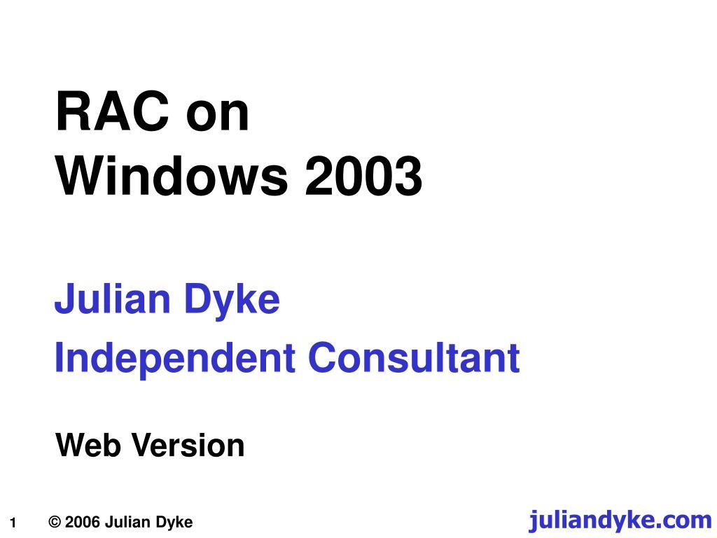rac on windows 2003 l.