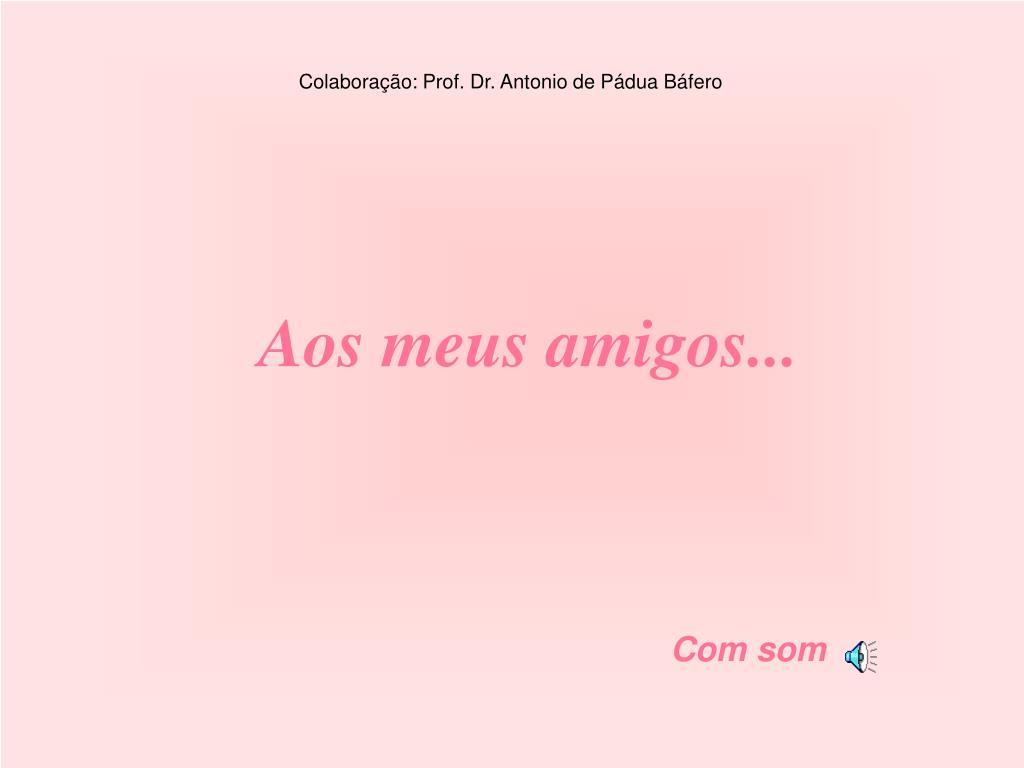 Colaboração: Prof. Dr. Antonio de Pádua Báfero