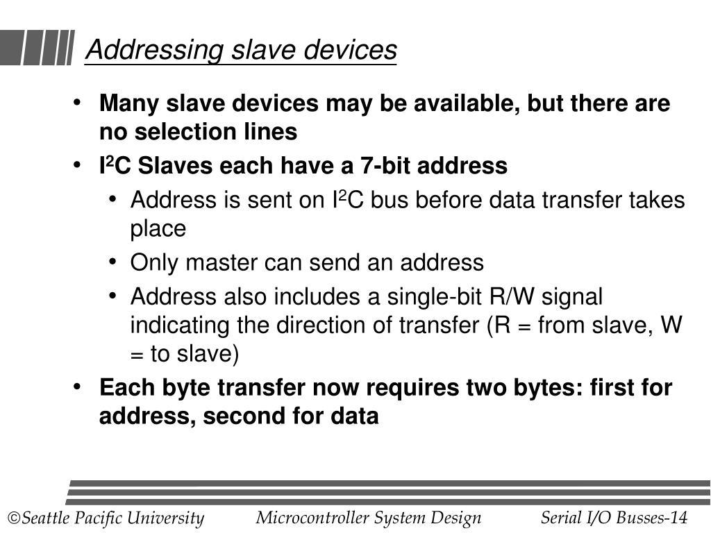 Addressing slave devices