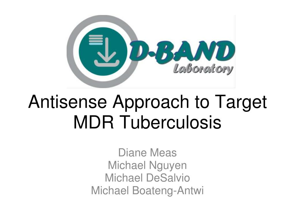 antisense approach to target mdr tuberculosis l.