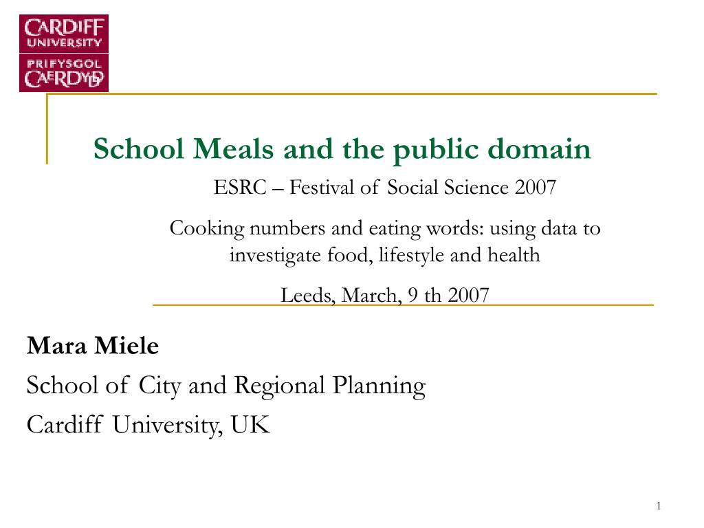 school meals and the public domain l.
